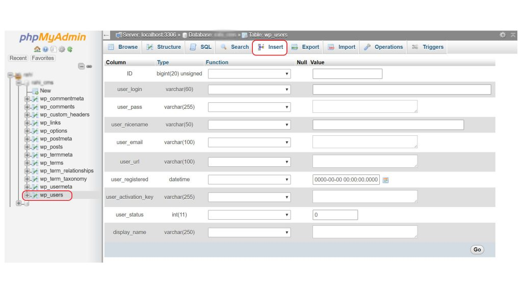 How to add wordpress admin user to the database using